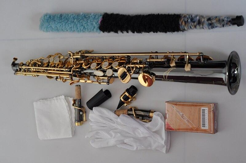 France Soprano Saxophone R54 Straight Sax B Flat Saxofone Professional Musical Brass Instruments Black Nickel Gold Accessories - 5
