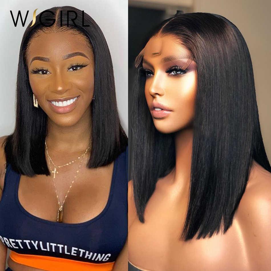Wigirl 150 gęstość bob peruka Remy 13x4 koronki przodu włosów ludzkich peruk wstępnie oskubane krótkie proste przednie peruki dla czarnych kobiet