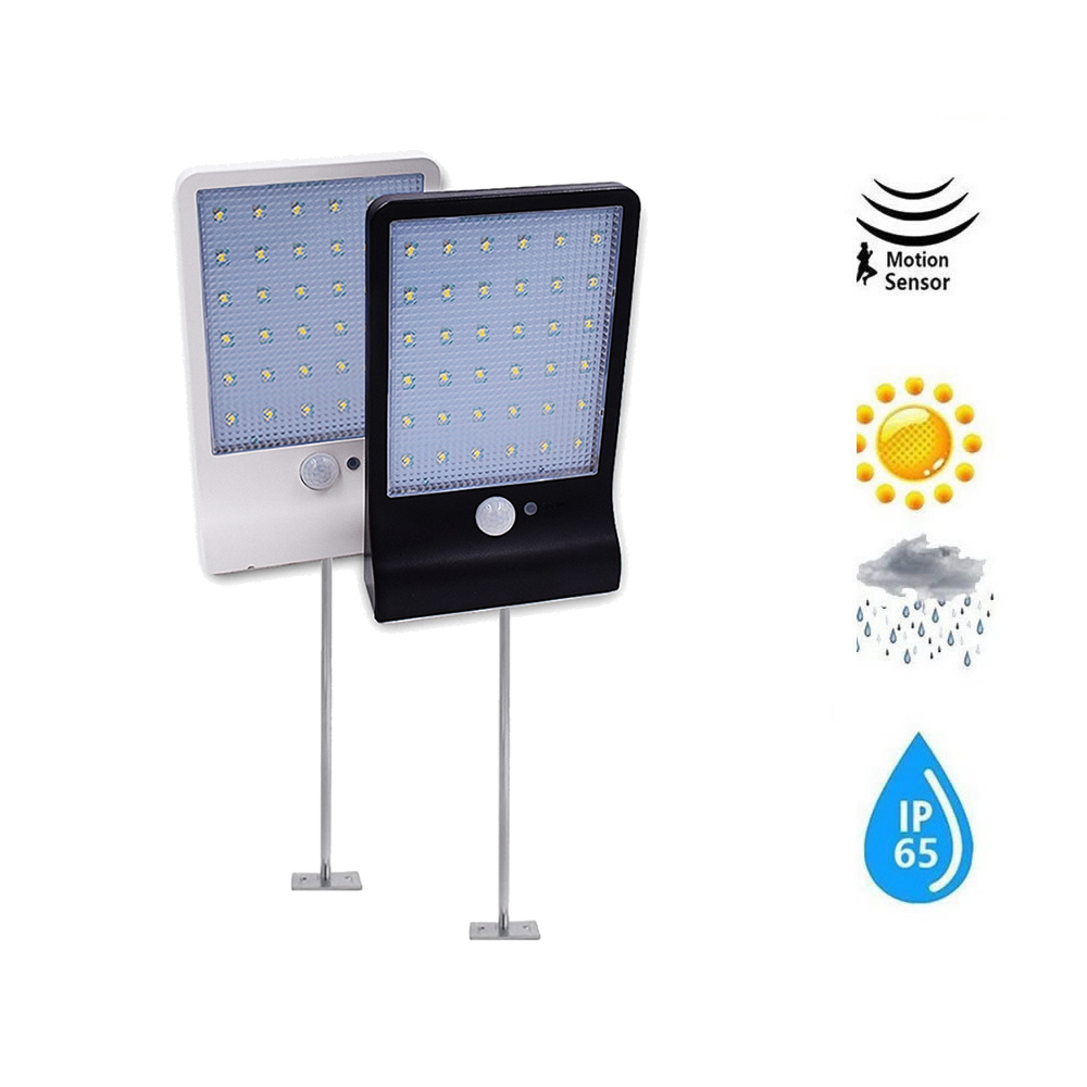 Metal Poles LVJING 48 LED Waterproof PIR Motion Sensor Wall Lamp 4 Mode Solar Light For Outdoor Rotable Pole Garden Wall Waterpr