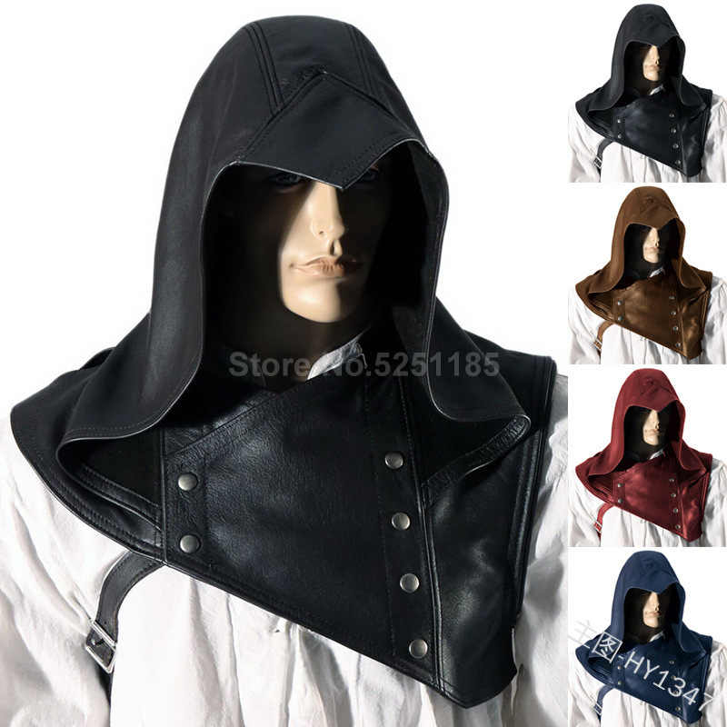 Medieval Men Armour Knight PU Leather Cloak Archer Viking Armor Warrior Soldier Hodded Robe Cape Halloween Party Cosplay Costume