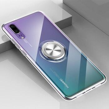 Перейти на Алиэкспресс и купить Прозрачный силиконовый чехол для Huawei P20 Pro P30 Lite Mate 20, противоударный бронированный Автомобильный держатель для колец, чехол для Huawei P20Pro