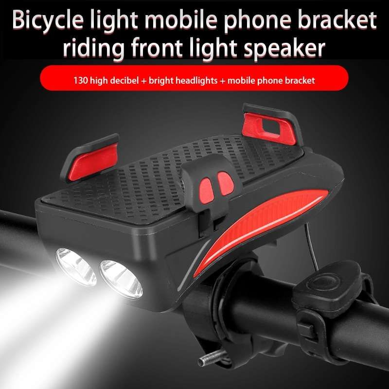 USB Charger Multifunction 4 IN 1 Bike Light Flashlight Bike Horn Phone Holder Power Bank Bicycle Front Light Phone Stand Holder