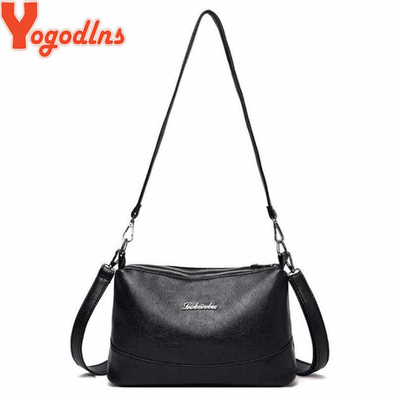 Yogodlns bolsos duplos sling sacos de couro macio do plutônio mulheres crossbody saco com duas alças de ombro feminino mensageiro sacos preto