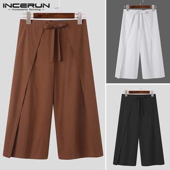 INCERUN męskie spodnie jednokolorowe spodnie szerokie nogawki rekreacyjne bawełniane sznurowane spodnie do joggingu męskie spodnie w stylu Casual na zamek błyskawiczny Pantalones Streetwear 5XL tanie i dobre opinie Szerokie spodnie nogi CN (pochodzenie) Mieszkanie COTTON NONE Luźne Men Solid Color Wide Leg Pants Na co dzień Midweight