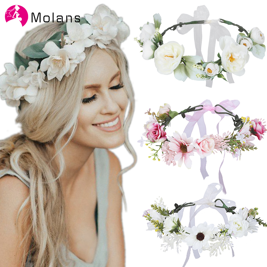 Molans Romantic Brides Flower Crowns Solid Boho Chic Stimulated Pink Floral Garlands For Women Party Seaside Wedding Wreaths