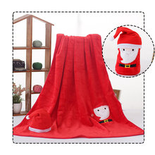 Weihnachten Cartoon Kinder Decke Hut Set Super Weiche Flanell Flauschigen Decke Deer Schneemann Santa Claus Nickerchen Decke Geschenk 80X100 Cm(China)