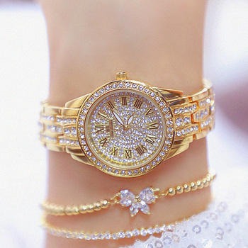 Luxury Bling Diamond Watch Women Fashion Roman numerals Dial Watch Top Brand Gold Ladies Quartz Wrist Watches Female Clock Gifts top brand fashion mesh band ladies watches women luxury starry sky dial roman numerals quartz watch clocks relojes para mujer