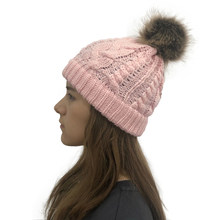 NIBESSER 2019 Hat Ladies Braid Hair Ball Wool Hat Autumn And Winter Twist Knitting Warm Hats Knit Crochet Caps Faux Beanie(China)