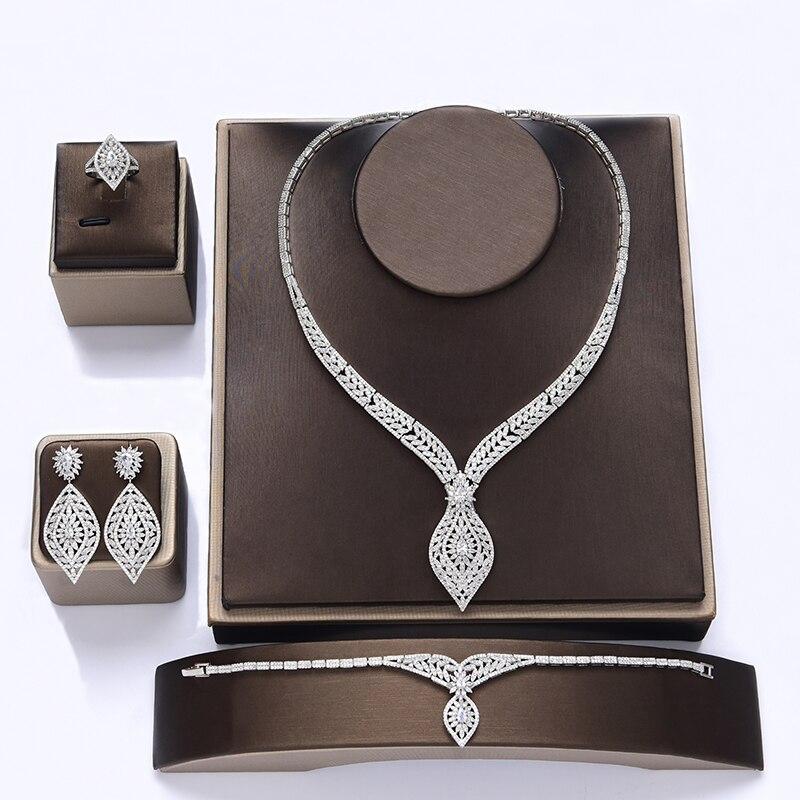 Ensemble de bijoux HADIYANA cadeau de mariage boucles d'oreilles collier Bracelet bague ensembles de luxe élégant femmes bijoux CN1108 accessoires Mujer