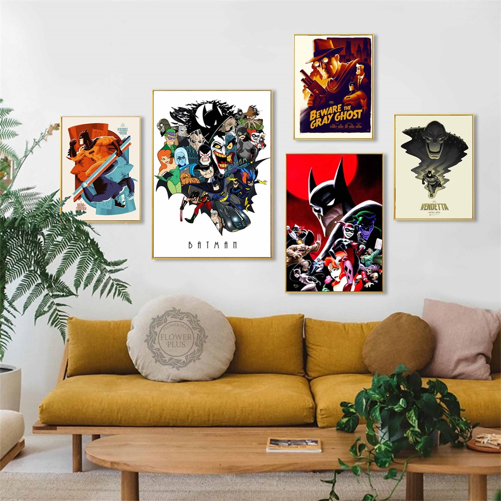 Batman Animated Series Joker Laughing Fish Comic Series Movie Poster Art Canvas Home Room Wall Printing Decor quadro cuadros image