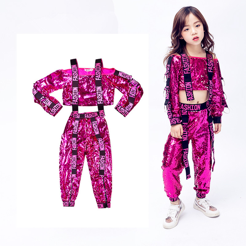 Children's Costumes Girls Fashion Dance Dress Sequins Street Dance Performance Clothes Girls Jazz Dance Costumes Free Shipping
