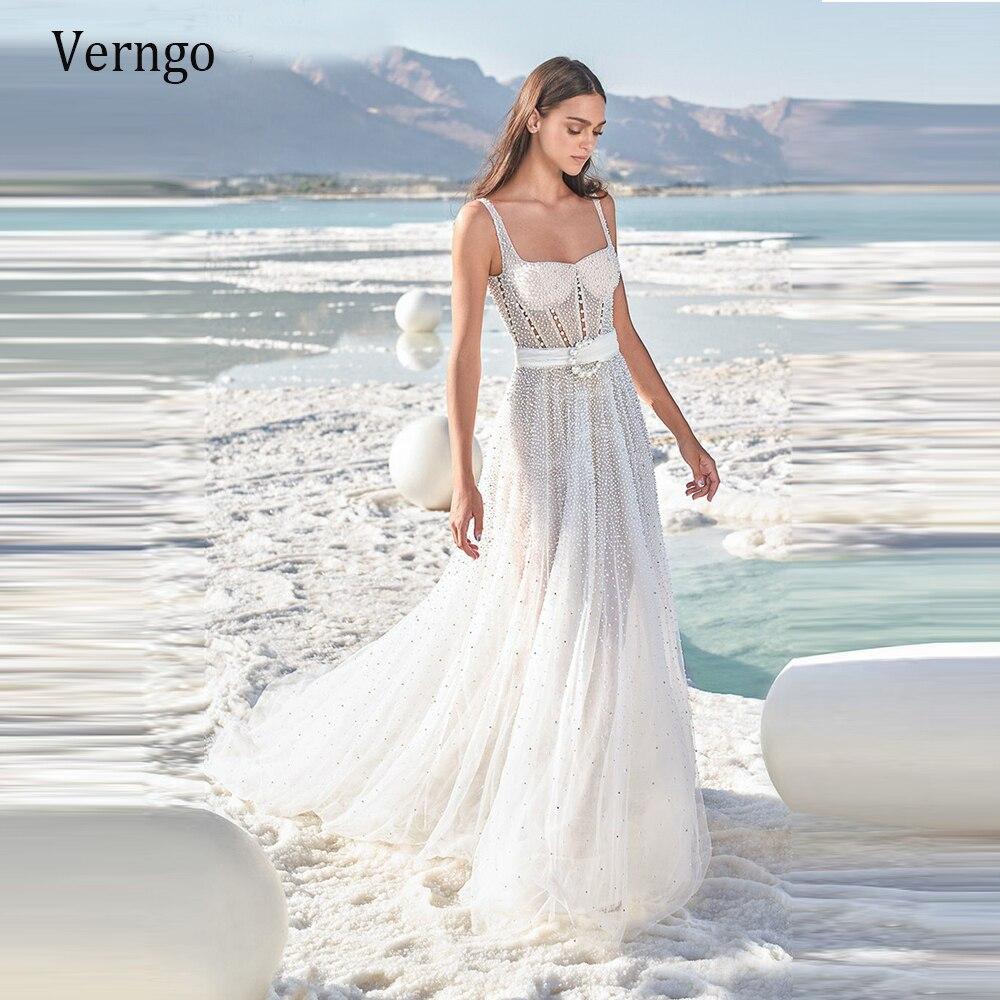Verngo 2021 новый дизайн жемчуг А силуэт свадебное платье пляжное Тюлевое квадратное платье для невесты Современные Сексуальные Фотообои Свадебные платья    АлиЭкспресс