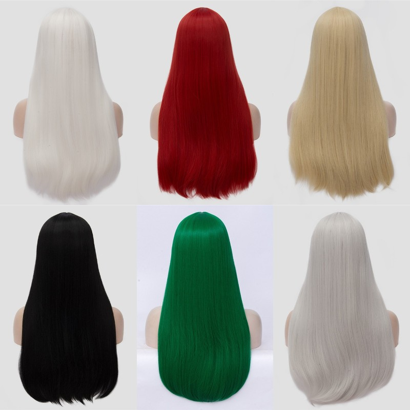 Image 2 - VICWIG 24 Inch Long Straight Hair Red Silver Black Grey White Blonde Green Wig Synthetic   Middle Part Women WigsSynthetic None-Lace  Wigs   -