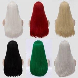Image 2 - VICWIG 24 אינץ ארוך ישר שיער אדום כסף שחור אפור לבן בלונד ירוק סינטטי פאת אמצע חלק נשים פאות