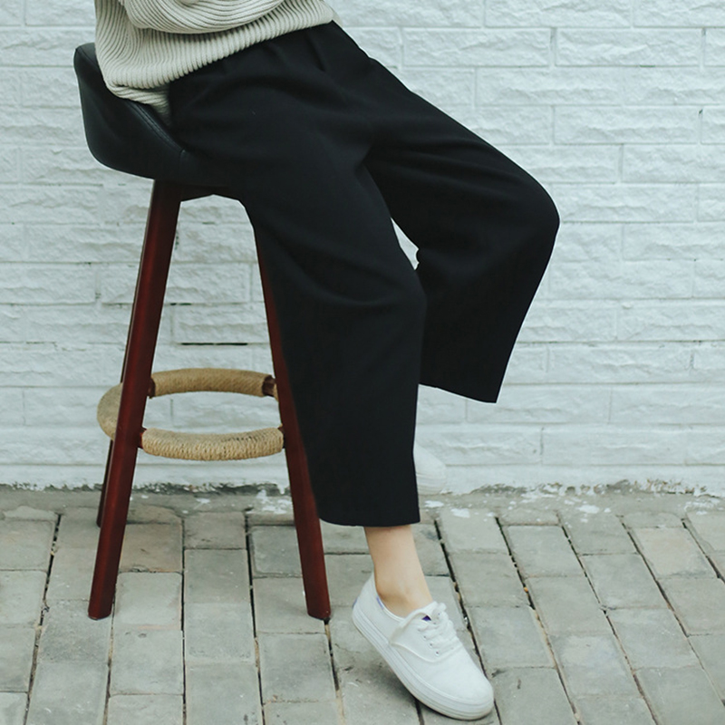 Image 5 - Wide Leg Pants Ulzzang Women Solid High Waist Trousers Pleated Loose Casual Elegant Womens Korean Style Chic School Daily Girls-in Pants & Capris from Women's Clothing