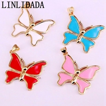 10Pcs New Arrival Fashion Jewelry Mix colors Enamel Butterfly Pendant, For Women Girl Gift Accessories