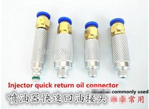 Junções comuns da tubulação do retorno do injetor do trilho  conectores do retorno do óleo de 4 pces  conector rápido essencial do óleo do retorno do injetor do teste