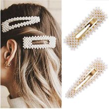 2020 New Fashion Pearl Hair Clip for Women Elegant Korean Style Snap Barrette Stick Hairpin Hair Styling Accessories Hair Pins ubuhle fashion women full pearl hair clip girls hair barrette hairpin hair elegant design sweet hair jewelry accessories 2019