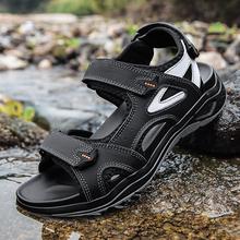 Męskie sandały wysokiej jakości skórzane letnie męskie kapcie rzymski styl designerski męskie sandały plażowe miękkie wygodne męskie buty na zewnątrz tanie tanio PHERON CN (pochodzenie) Prawdziwej skóry Skóra bydlęca Ankle wrap Cotton Fabric LEISURE RUBBER Hook loop Mieszkanie (≤1cm)