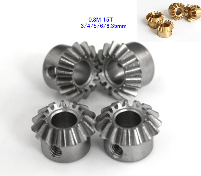 2PCS Bevel Gear 0.8M 15T 90 Degrees Transmission Gear DIY Copper/steel 3 4 5 6 6.35 Mm Hole