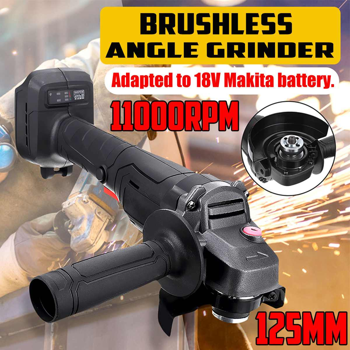 125mm Brushless Cordless Impact Angle Grinder without battery For MAKITA 18V POLISHER Electric Car Cutting Grinding Power tools