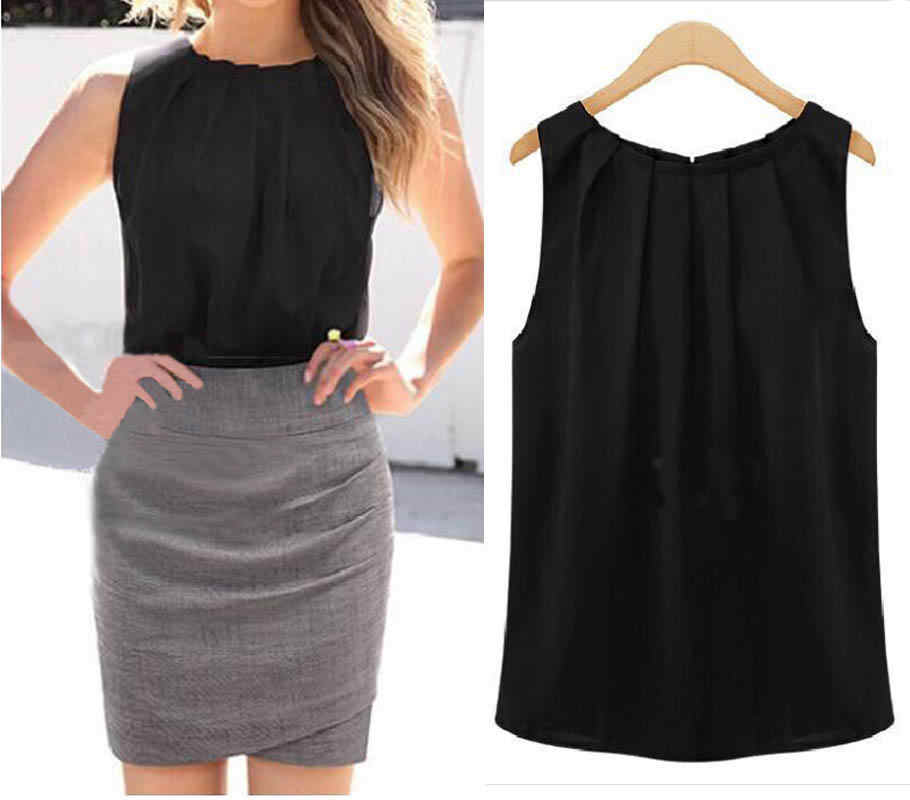 جديد أزياء مكتب سيدة قمم البلوزات الأبيض أسود بلا أكمام س الرقبة فضفاض البلوزات قميص زائد الحجم بلوزات الصيف الساخن