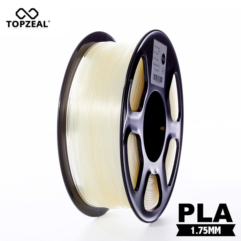TOPZEAL Clear Transparent 3D Plastic Filament PLA Filament 1.75mm 1KG Dimensional Accuracy +/- 0.02mm 3D Printing Materials