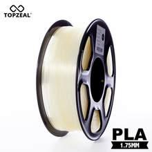 Topzeal filamento plástico transparente 3d, filamento pla filamento 1.75mm 1kg precisão dimensional +/- 0.02mm 3d materiais de impressão