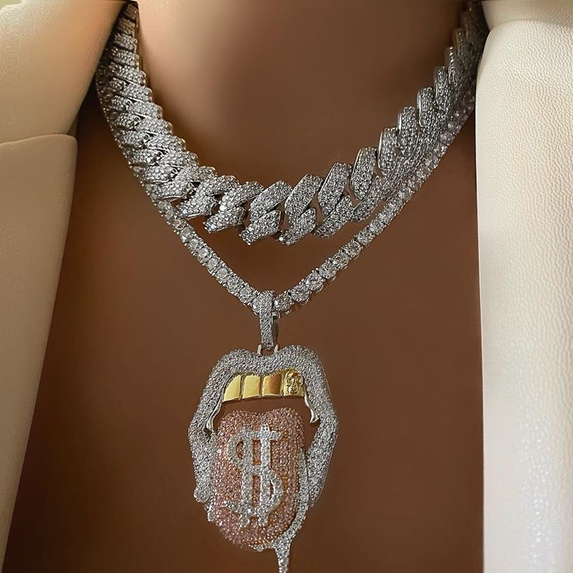 Hot sale Hip Hop Drip Dollar Lip Necklace Jewelry Iced Out Bling CZ Cubic Zirconia Tongue Pendant Tennis Chain Holloween Gift