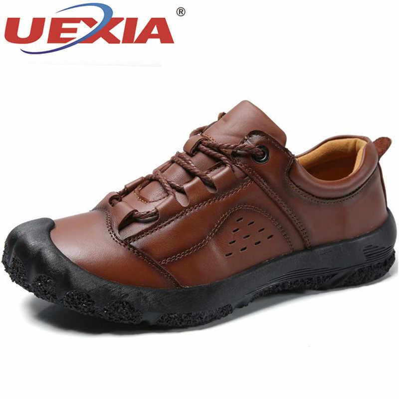 UEXIA ผู้ชายรองเท้าหนังผู้ชายหรูหรายี่ห้อ Design Handmade Loafers ชายคัทชูรองเท้าผ้าใบรถจักรยานยนต์ 38- 48
