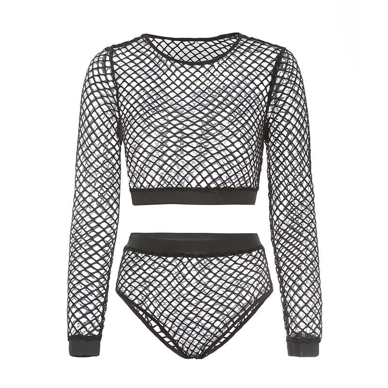 Black See Through Two 2 Piece Set O Neck Stretchy Full Sleeve Fishnet Grid Crop Top Hot Skinny Panties Clubwear 2 Pcs Outfits 5