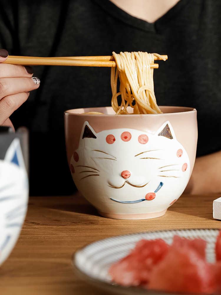 Kreatywny japoński płytki nieszkliwione ceramiczny cat cartoon gospodarstwa domowego jadalnia zupy makaron para sałatka miso ramen naczynia stołowe z pałeczki