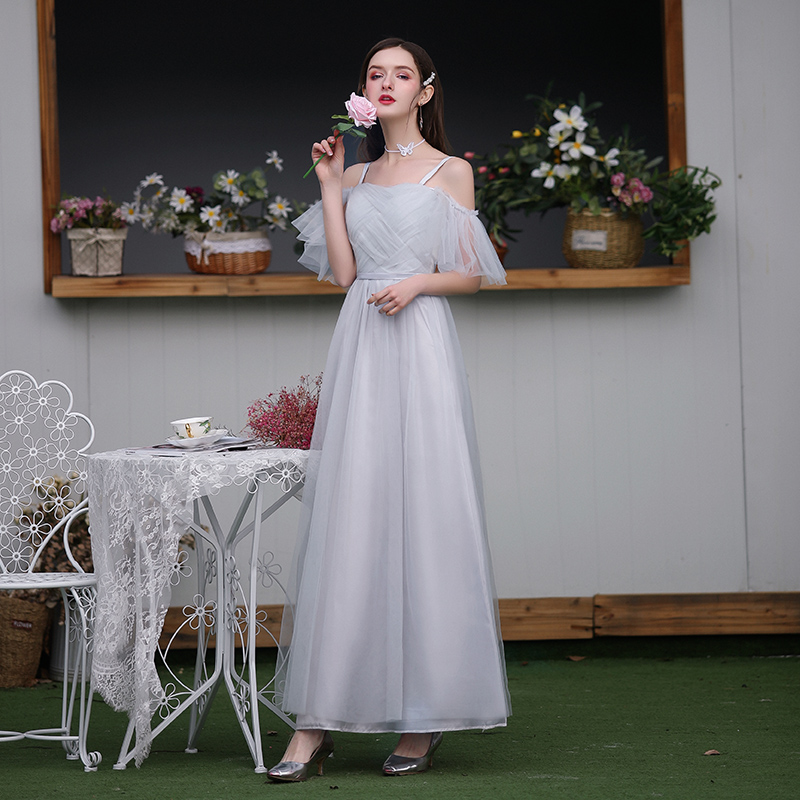 Spaghetti Straps Long Dress For Wedding Party For Woman Bridesmaid Dress Gray Wedding Guest Dress Sexy Prom Club Vestido A-Line