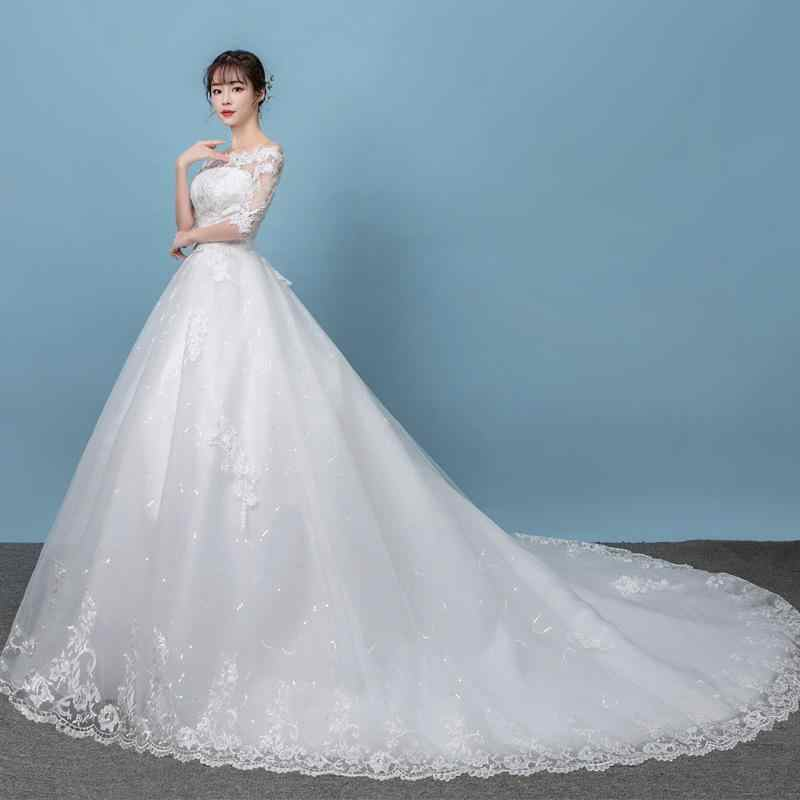 Robe de mariee 2019 meia manga vestido de casamento novo fora do ombro vestidos de noiva da princesa