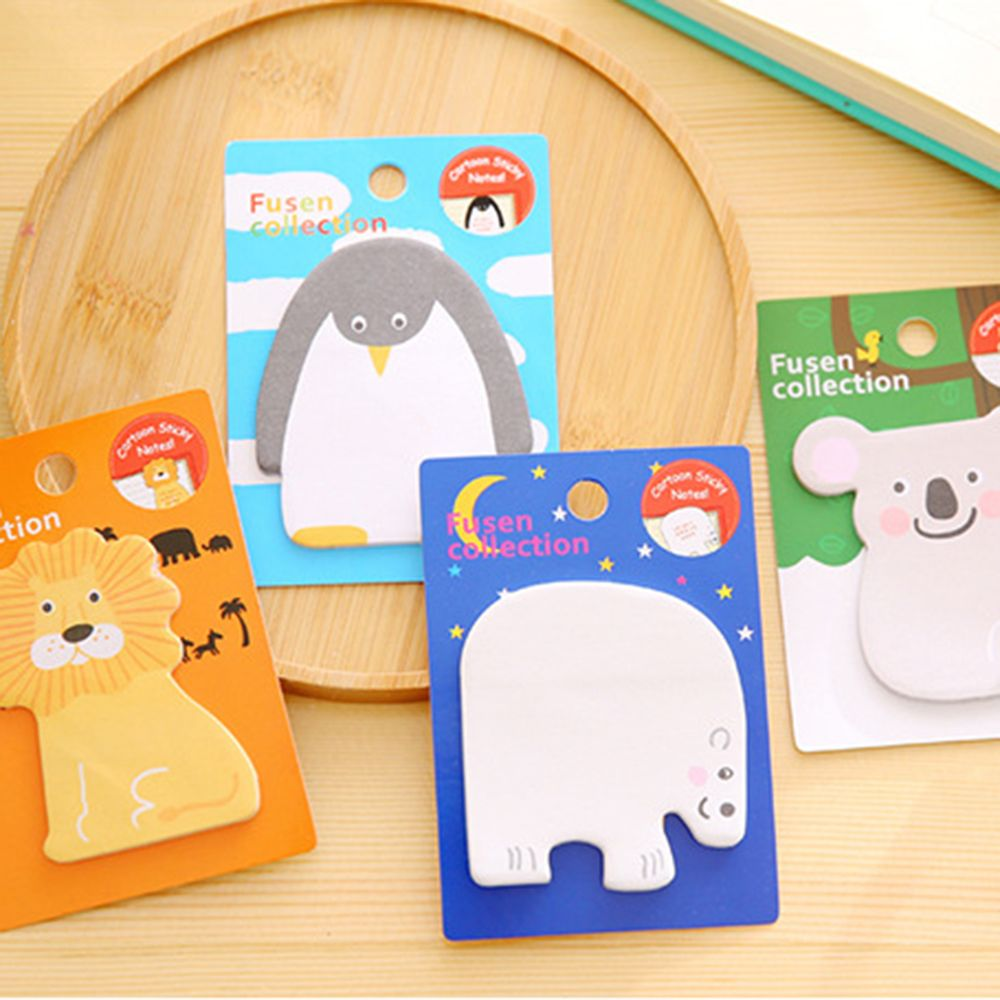 Cute Animal Lion Penguin Koala Polar Bear Memo Pad Sticky Note Page Marker Stationery Office Supplies