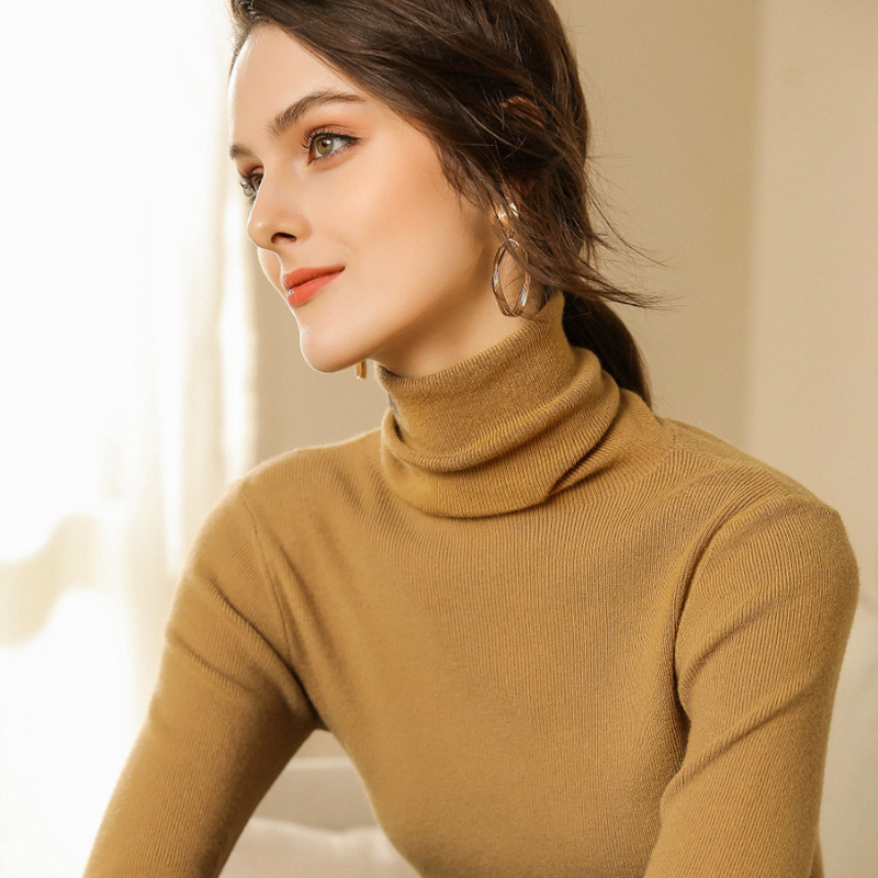 Autumn and Winter New Cashmere Sweater Women High Collar Pullover Fashion Sweater Warm Bottom Sweater 9