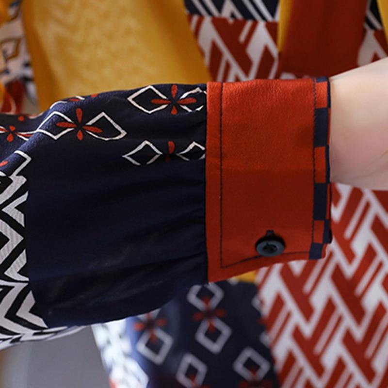 Fashion Print Blouses Women Bow Silk Shirts 2021 Autumn Long Sleeve Shirt Women Harajuku Shirts Blusas Mujer De Moda 10739 5