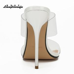 Image 4 - LLXF Hausschuhe zapatos mujer Sommer flip flops Braut Stiletto 13cm Dünne High Heels Sandalen transparent schuhe frau Klassische Pumps