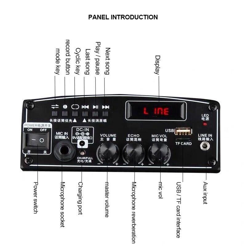 Haut parleur extérieur de mode 160W Subwoofer 12''Bass Bluetooth haut parleur avec lumière colorée stéréo Portable Super grand haut parleur - 4
