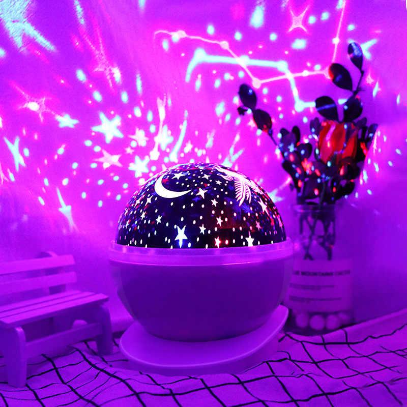 ירח כוכבים שמיים מקרן אווירה LED לילה אור ערפילית ענן 360°Rotational עם USB צבעוני לילדים מתנות תינוק שינה