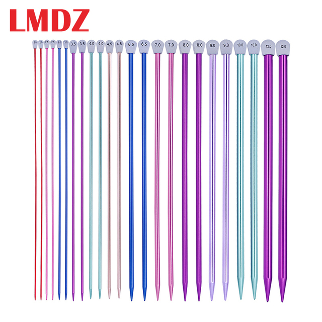 LMDZ 2 Cái/bộ 35Cm Đơn Chỉ Kim Đan Chân Thẳng Nhôm Tự Làm Nghề Dệt Công Cụ Dài Áo Len Khăn Quàng Kim 2.0 12Mm