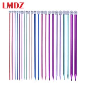 Image 1 - LMDZ 2Pcs/Set 35cm Single Pointed Knitting Needles Pins Straight Aluminum DIY Weaving Tool long sweater scarf needle 2.0 12mm