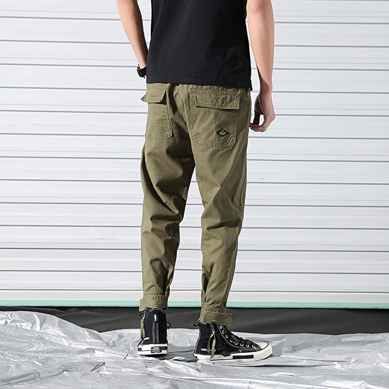 Spring New Style Bib Overall MEN'S Trousers Korean-style Popular Brand Men Capri Casual Pants Loose Straight Beam Leg Harem Pant