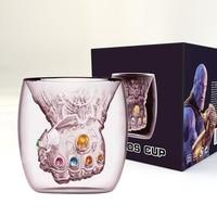 Перчатки Thanos Infinity Gauntlet термостойкие двойные стенки Стеклянная чашка Молоко Кофе Кружка чай виски стеклянная чашка