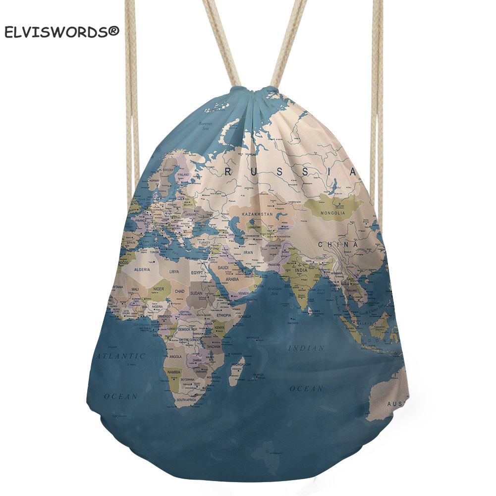 ELVISWORDS Map Print Gym Sack Sport Drawstring Backpack Travel Shoulder Bag Shopping Casual Tote Bag SChoolbag For Kids Girls