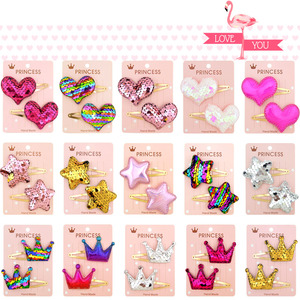 2Pcs/set Sequins Cartoon Love Heart Crown Hair Clips for Girls Handmade Boutique Hairgrips Baby Clips Kids Hair Accessories 035