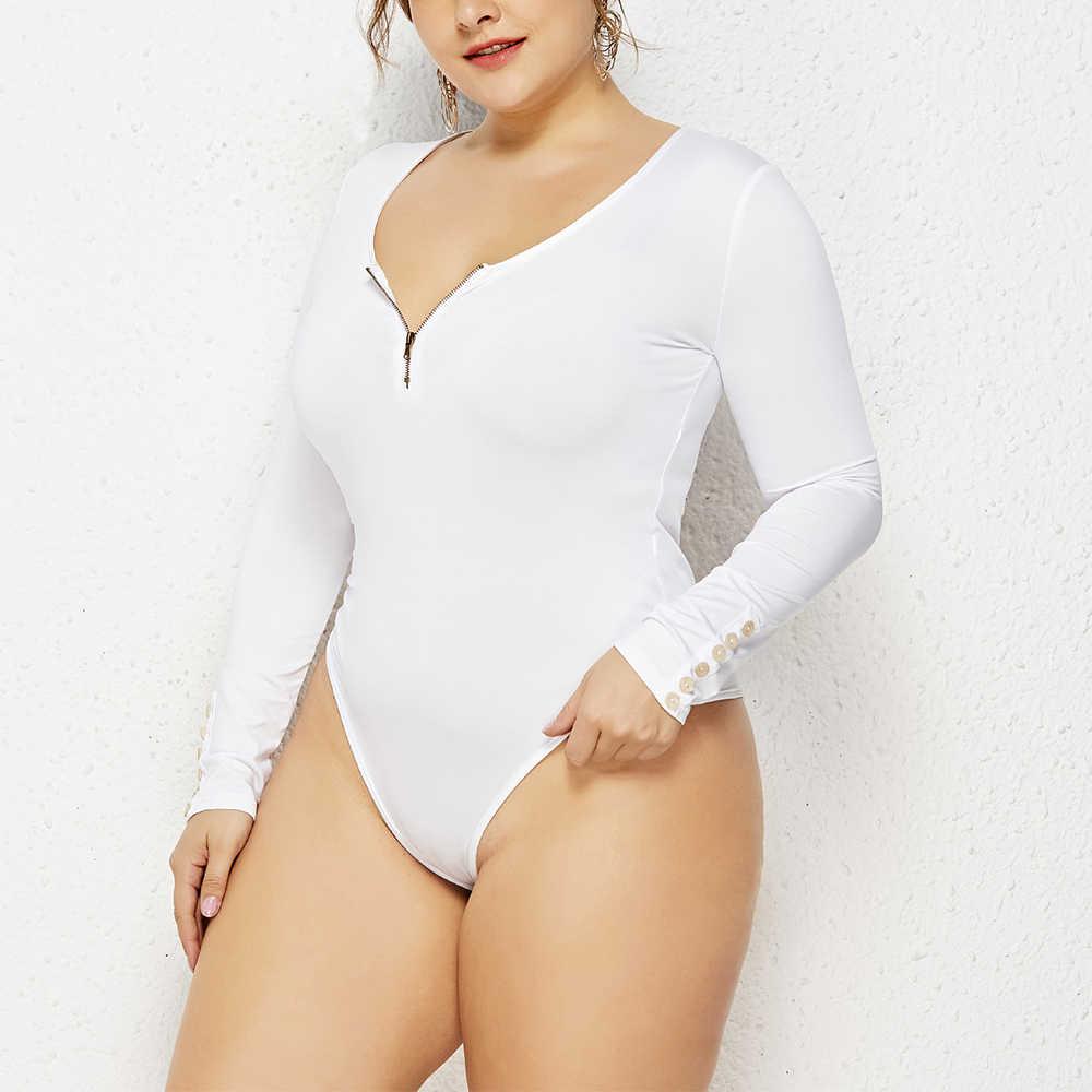 Kobiet Plus rozmiar Casual kombinezony moda Retro O-neck odzież duży duży rozmiar panie OL body eleganckie z długim rękawem kombinezony