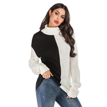 NORMOV Large size High-necked Sweater woman splice Contrast color Sweaters Thicken warm Casual Loose