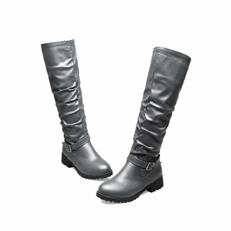 ASUMER büyük boy 34-46 moda diz yüksek çizmeler kadın yuvarlak ayak düşük topuklu sonbahar kış çizmeler zip rahat bayan botları 2020