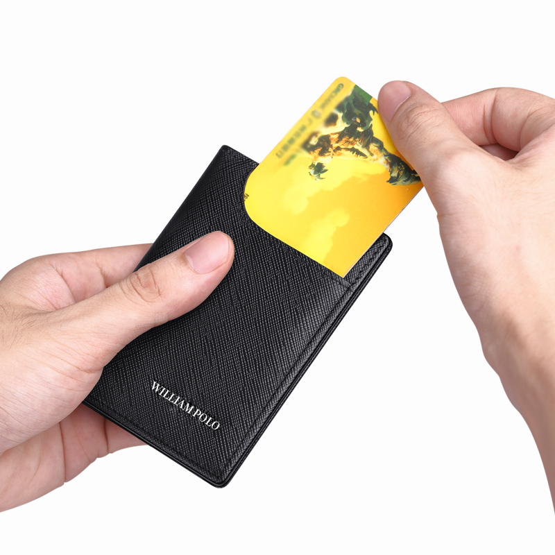 Card Holder Male Leather Vertical Ultra Thin Card Holder Business Card Holder Holder Driver's License Leather short Wallet